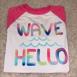 "Swim shirt Kids large (10-12) - ""Wave hello"""